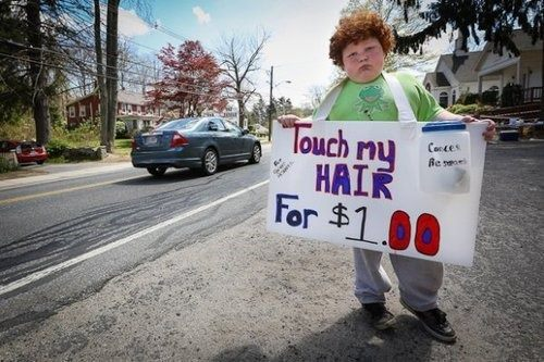 Child Wants His Hair Stroked